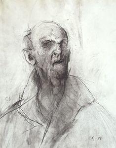 """Olle Skagerfors """"Självporträtt"""", kolteckning, 1988"""