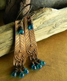 Blue Zircon Earrings with Copper by Gloria Ewing.