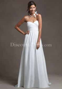 A-Line Strapless Sweetheart 100% Eastern Shantung Sweep wedding Dress style 13949 - - US$219.00