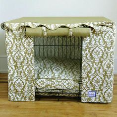 Make your dog crate look its best with the BowhausNYC Crate Cover - Damask. This cover slides over your metal crate and boasts a bold damask print. Dog Crate Cover, Airline Pet Carrier, Dog Carrier, Goldendoodles, Cavachon Puppies, Labradoodles, Pet Carriers, Dog Houses, Pet Beds