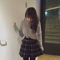 Korean fashion - grey sweater, plaid pleated skirt and leggings