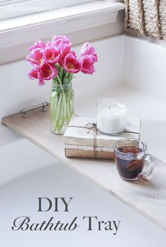 This easy DIY bathtub tray is perfect for  drink or your favorite book while you soak!  Ella Claire