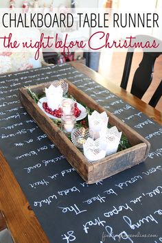 Christmas Decorating Ideas: Holiday Housewalk Tour - Finding Home. Table cloth out of paper chalkboard and chalk ink pen. The Night Before Christmas Chalkboard Table Runner. Noel Christmas, Winter Christmas, All Things Christmas, Christmas Ideas, Christmas Runner, Nordic Christmas, Christmas Games, Modern Christmas, Beautiful Christmas