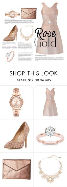 """rose gold"" by mayarr ❤ liked on Polyvore featuring Michael Kors, Miss Selfridge, Head Over Heels by Dune, Rebecca Minkoff and Kate Spade"
