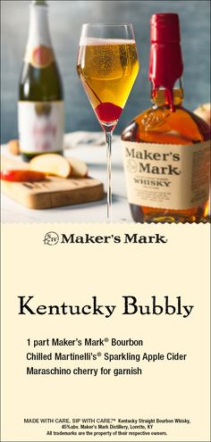 Maker's Mark Kentucky Bubbly - Apple and Maker's Mark® are a natural pairing. And, this crisp and fizzy cocktail is perfect aro - Bourbon Cocktails, Cocktail Drinks, Cocktail Recipes, Liquor Drinks, Beverages, Whiskey Drinks, Alcohol Drink Recipes, Brunch, Holiday Cocktails