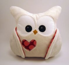 Owl with heart made of Amy Butler fabric.  By etsy seller April Floss (Cloquet, MN.) #owl #stuffed-animals #stuffies $30.00