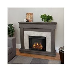 Decorative Fireplace: Real Flame Cascade Cast Electric Decorative... ($990) ❤ liked on Polyvore featuring home, home decor, fireplace accessories, brown, electric fireplace accessories, home wall decor and stone home decor