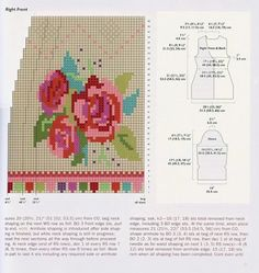 Irish lace, crochet, crochet patterns, clothing and decorations for the house, crocheted. Crochet Blocks, Crochet Chart, Knit Crochet, Crochet Patterns, Intarsia Knitting, Knitting Charts, Knitting Stitches, Cardigan Rose, Coral Roses