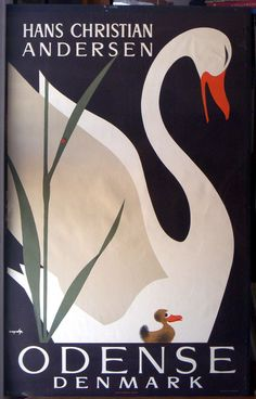 Great 1950s Odense, Denmark Travel Poster with Hans Christian Andersen's