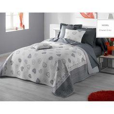 Vintage prehozy na dvojposteľ so srdiečkami v sivej farbe Hotel Bed, Bed Sets, Bedding Sets, Comforters, Vintage, Blanket, Luxury, Furniture, Design