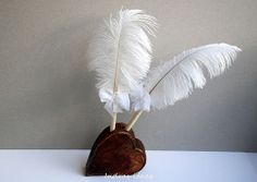 Rustic Wedding Guest Book  Pen Holder 2 feather pen by Indrasideas, $58.00