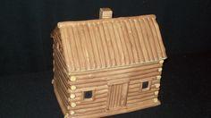 Vintage Sakura Cookie Jar - Log Cabin by David Carter Brown - Excellent!