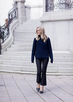 cropped flares black and navy black pointy toe loafers black loafers navy sweater black flare pants fall work outfit via sofis snapshots