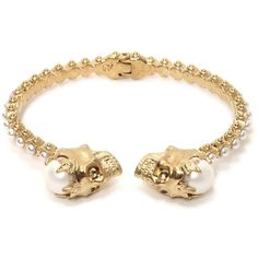 Alexander McQueen Pearl Crown Twin Skull Bracelet found on Polyvore