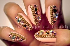 Fabulous Nails with Gold Details...a little over the top for the inner diva in you xoxo