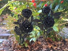 "Handmade Earrings from Italian Black Lace with Black Plastic Beads. Lightweight. 3.75"" (9.5 cm) tall by 2.6"" (6.6 cm) wide. Black metal fishhook ball coil earring wires."