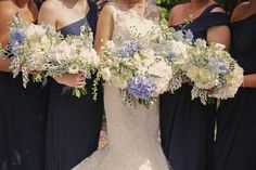 Blue White Bouquets Flowers Bride Bridal Bridesmaids Pretty Elegant Blue Flower Filled Wedding http://helenrussellphotography.co.uk/