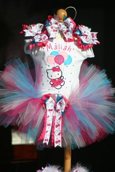 Hello Kitty birthday tutu outfit with bling by TeenyTinyTwinkles, $55.00
