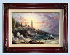 Thomas Kinkade CLEARING STORMS Lighthouse, Seaside Memories IV, 18 x 27 lithograph on canvas, limited edition of only 2950,  brandy frame, Never Displayed