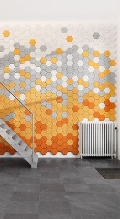 the perfect mix of color and style with this hexagon wall.