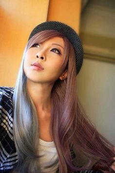 Grey & Purple Pink Heat-Resistant Long Straight Cosplay Wig w/Bangs @ Ebay: Zhushouli $18
