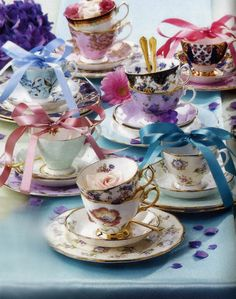 There's a semiannual New York Tabletop Market! These floral teacups are a Royal Albert design.