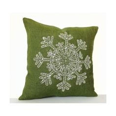 Christmas Pillow -Snowflake -Green Throw Pillows -Burlap Pillows Cover... ($32) ❤ liked on Polyvore featuring home, home decor, christmas home decor, green home accessories, burlap home decor and green home decor