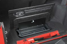 VDP's custom molded Locking Storage Vault fits that empty storage space below the rear cargo floor carpet. Keep valuables safe and secure from prying eyes and sticky fingers. This clever design provides 625 cubic inches of weather tight lockable storage.