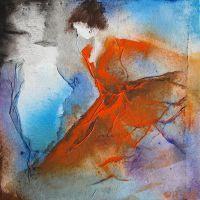 Elyza_13_08. Een schilderijtje van Wil Lof. Het formaat is 30 x 30 x 4 cm. Niet te koop. (als Caelin-papiergiclees beschikbaar)