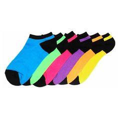 Neon Black Solid Color Women's Ankle Socks 6 Pack - K. Diamond Hair, Knitting Socks, Knit Socks, Colorful Socks, Dress Socks, Ankle Socks, 6 Packs, Hosiery, Cool Style