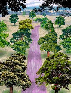 View Summer Road Near Kilham by David Hockney on artnet. Browse upcoming and past auction lots by David Hockney. Robert Rauschenberg, Mondrian, Matisse, Landscape Art, Landscape Paintings, David Hockney Art, Modern Art, Contemporary Art, Gravure Illustration