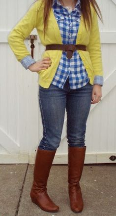 Yellow cardigan, blue gingham top