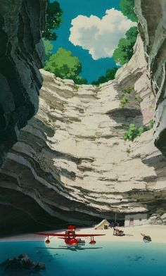 """Enjoy a collection of Concept Art from Studio Ghibli Porco Rosso, featuring Character, Layout, Prop & Background Design. The adventures of """"Porco Rosso Art Studio Ghibli, Studio Ghibli Films, Hayao Miyazaki, Environment Concept Art, Environment Design, Fantasy Landscape, Landscape Art, Studio Ghibli Background, Studios"""