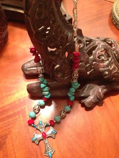 Cross Howlite Turquoise & Deep Red Crystals Comes in any size you would like to order    http://www.shop.donnasjewelryboxdallas.com/