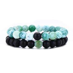 Les couples distance Bracelets Moonstone Stone Bead Crown Hommes Femmes Charm Bracelets