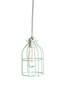industrial light cage in a retro mint green