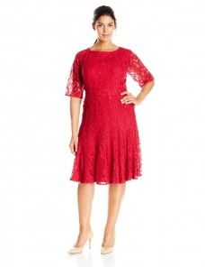 Adrianna Papell Women s Plus Size Short Sleeve Lace Illusion Fit and