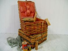 Old Wicker Baskets Set of 2 with Sewing Notions Display