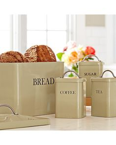 Retro kitchen tins are great for organization! Get them here: http://www.bhg.com/shop/williams-sonoma-retro-bread-box-p5079b80482a7862e65b5999a.html?mz=a