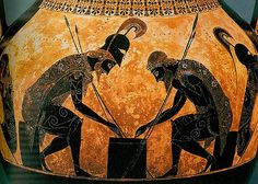 Homer, The Iliad - Achilles and Ajax at Draughts, Black Figure Ware Amphora, Greek, 540 BCE