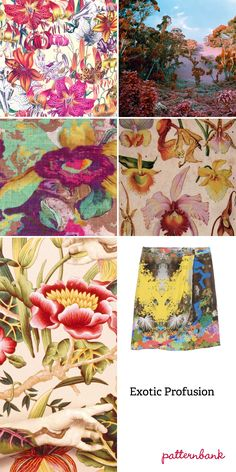 Spring/Summer 2013-Colour explosion – Exotic flauna mixes – Rainforest blooms – Digital and watercolour effect mixes – High contrast prints – Neon brights – Bird of paradise and orchid floral studies – Pattern overlays