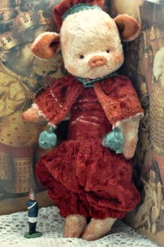 Pig ★ Antique Style ★ TEDDY BEARS ★ by Julia Valeeva