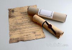 invitación en pergamino