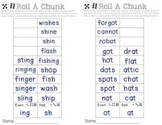 Working With Sight Words - Roll a Chunk