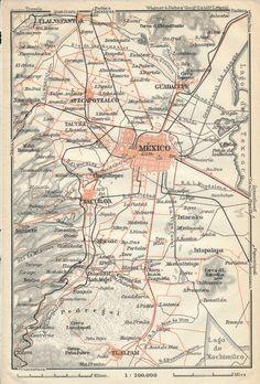 1909 Mexico City Mexico Antique Map