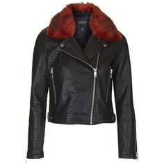TOPSHOP Faux Fur Collar Biker Jacket ($88) ❤ liked on Polyvore featuring outerwear, jackets, black, topshop jacket, faux fur lined jacket, topshop, black motorcycle jacket y faux fur collar jacket