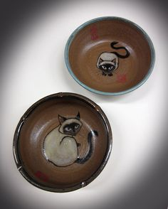 Painted stoneware cat bowls with intense siamese cats by Tracie Griffith Tso