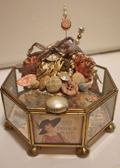 This amazing altered jewelry box is by @Denise Hahn using our new collection a Ladies' Diary. You must click to see all the details and love put into this! Beautiful! #graphic45