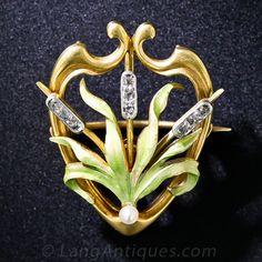 Art Nouveau Cattail Pendant Necklace/Pin - 90-1-5976 - Lang Antiques