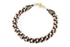 Christmas Kumihimo Bracelet Red Green Gold by NancysCrystalFantasy